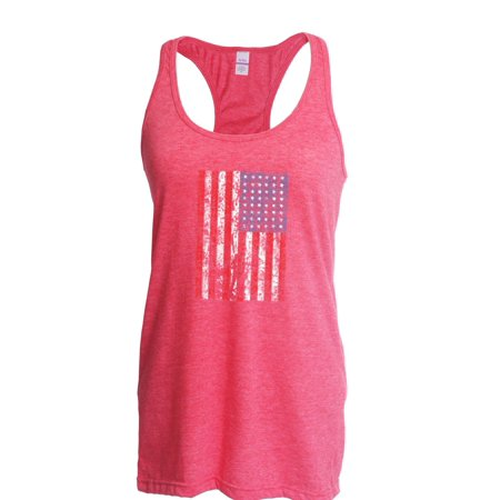 Womens USA Flag Vintage Proud Country American Racerback Tank Top