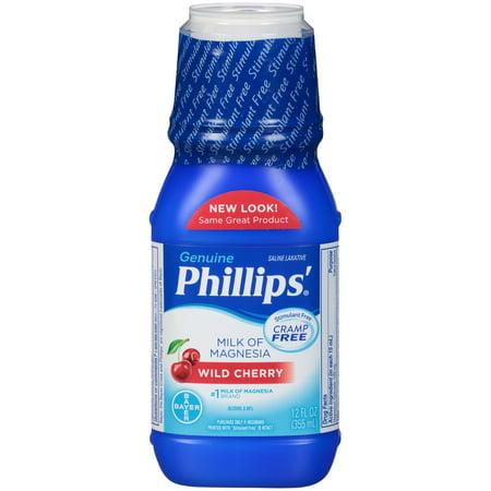 - Phillips' Milk Of Magnesia Liquid Laxative, Wild Cherry, 12 Fl Oz
