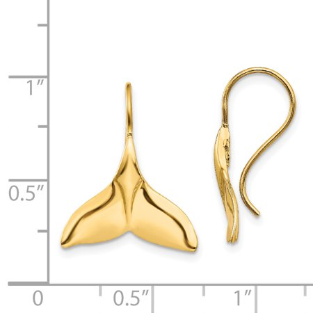 14k Yellow Gold Whale Tail Wire Drop Dangle Chandelier Earrings Animal Sea Life Fine Jewelry Gifts For Women For Her - image 1 de 7