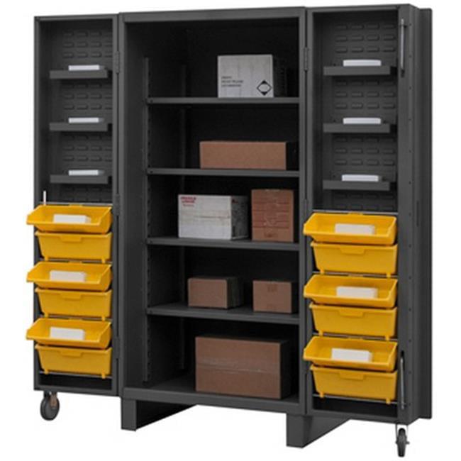 12 Gauge Recessed Door Style Lockable Cabinet with 96 Yellow Hook on Bins & 4 Adjustable Shelves, Gray - 36 in.