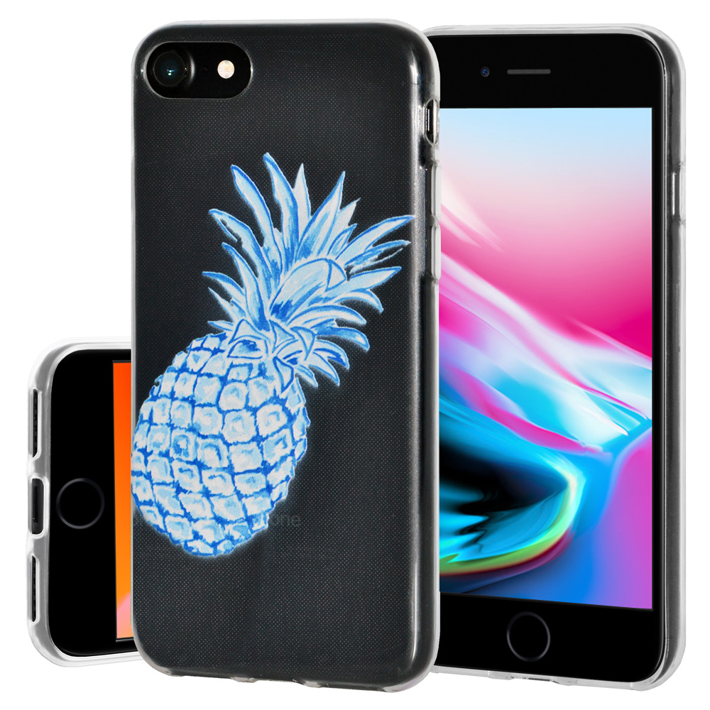 iPhone 8 Case, Premium Soft Gel Clear TPU Graphic Skin Case Cover for Apple iPhone 8 - Modern Blue Pineapple, Support Wireless Charging, Slim Fit, ShockProof