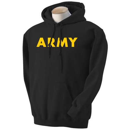 Army Logo Hooded Sweatshirt - Black ARMY Hooded Sweatshirt with gold print