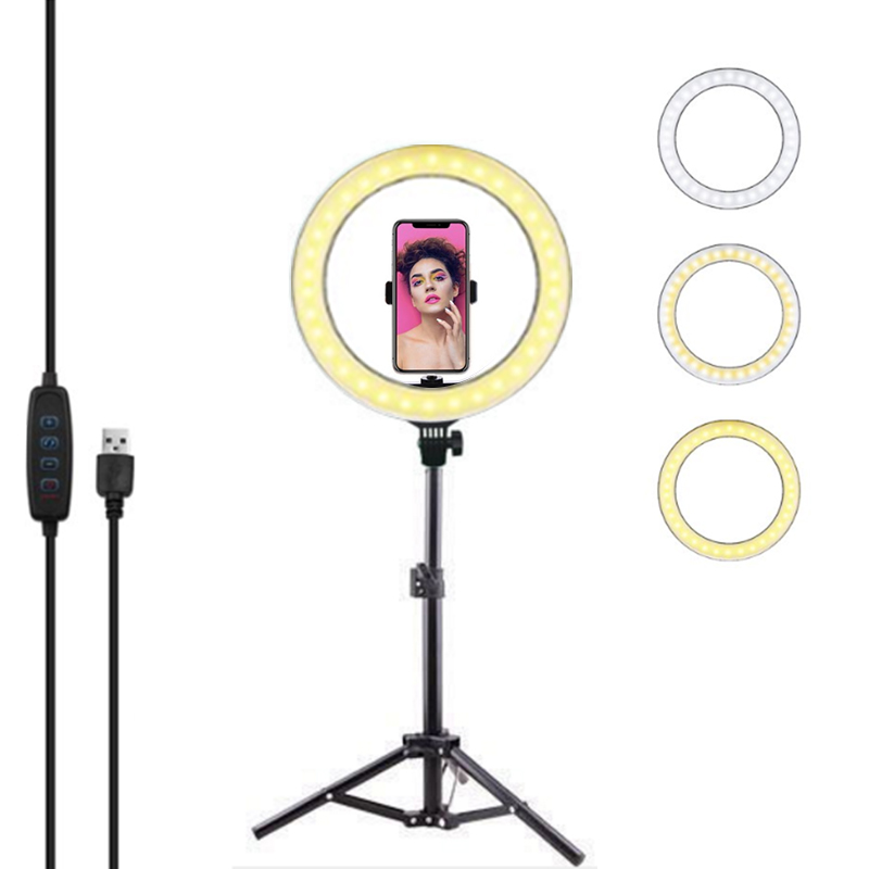 Foldable and Retractable Filling Circle Light with Bracket for Live Broadcast,Foading Ring Light 360/°Adjustment Portable Soft Lighting with Alloy Body