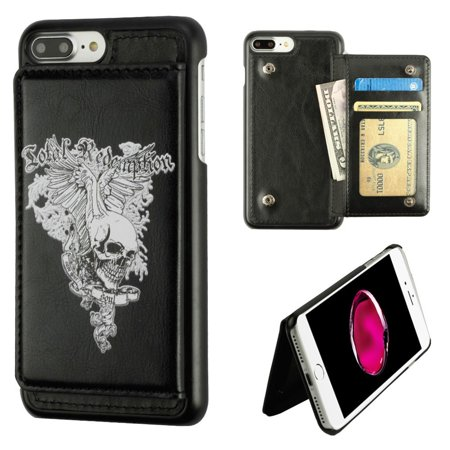 MyBat Executive Protector Skull Wing Stand Leather Wallet Flap Pouch Case Cover For Apple iPhone 8 Plus / iPhone 7 Plus - Black ()