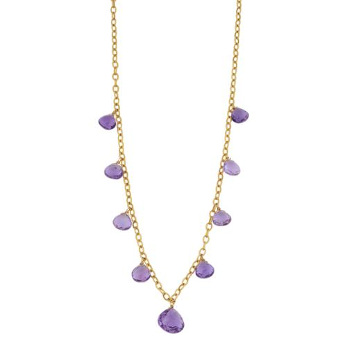 Fremada 14k Yellow Gold Amethyst Cleopatra Necklace (17 inches) by Overstock
