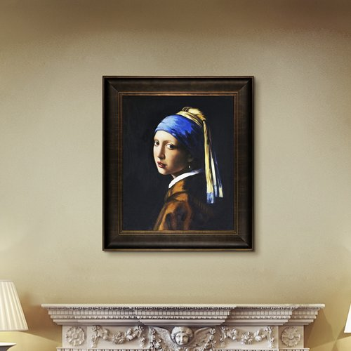 Wildon Home 'Girl with Pearl Earring' Canvas Art by Johannes Vermeer Traditional in Veine d' or Bronze Scoop Frame