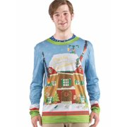 Faux Real Mens Drunk Elf Ugly Christmas Sweater Gingerbread Holiday T-Shirt