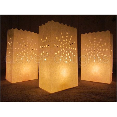 CleverDelights White Luminary Bags - 100 Count - Sunburst Design - Luminary Bag