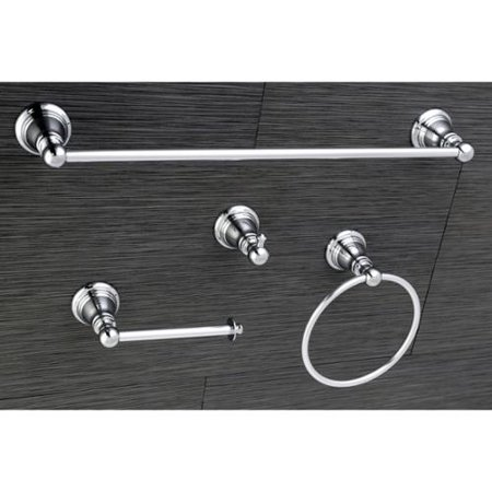 Kingston brass classic polished chrome 4 piece bathroom Polished chrome bathroom accessories