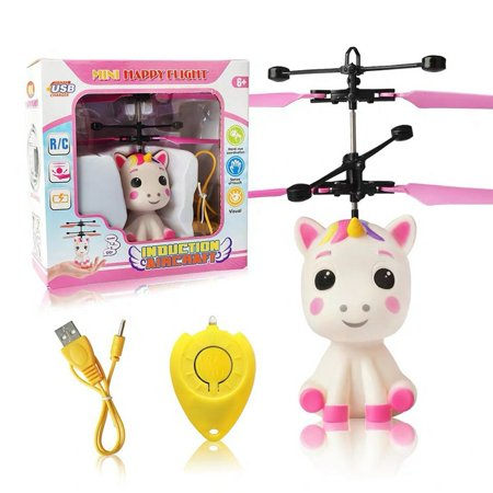 Unicorn Flying Ball Rc Toy Light Up Flying Fairy Toys For Kids Birthday Rechargeable Inductive Remote Control Helicopter - image 1 of 7