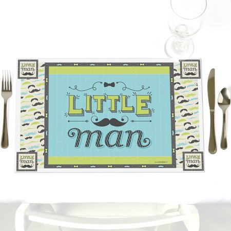 Dashing Little Man Mustache - Party Table Decorations - Baby Shower or Birthday Party Placemats - Set of 12 for $<!---->