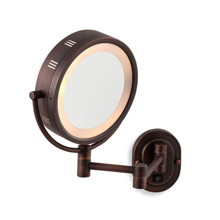 Seeall 8 Oil Rubbed Bronze Finish Dual Sided Surround Light Wall Mount Makeup Mirror