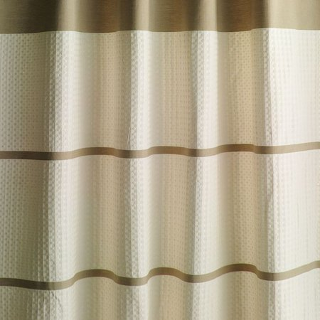 Home Classics Jasmine Waffle Fabric Shower Curtain Beige Striped Bath Walma