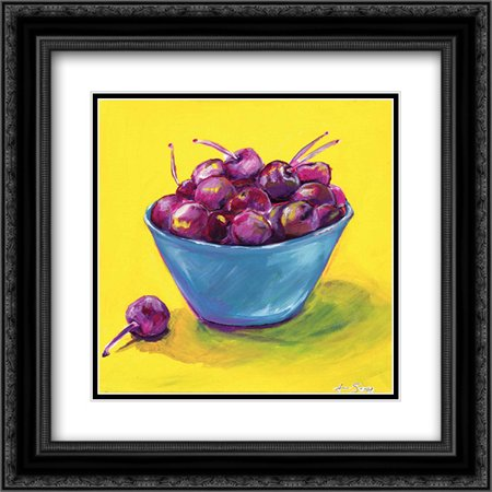 Bing Cherries 2x Matted 20x20 Black Ornate Framed Art Print by Seay,