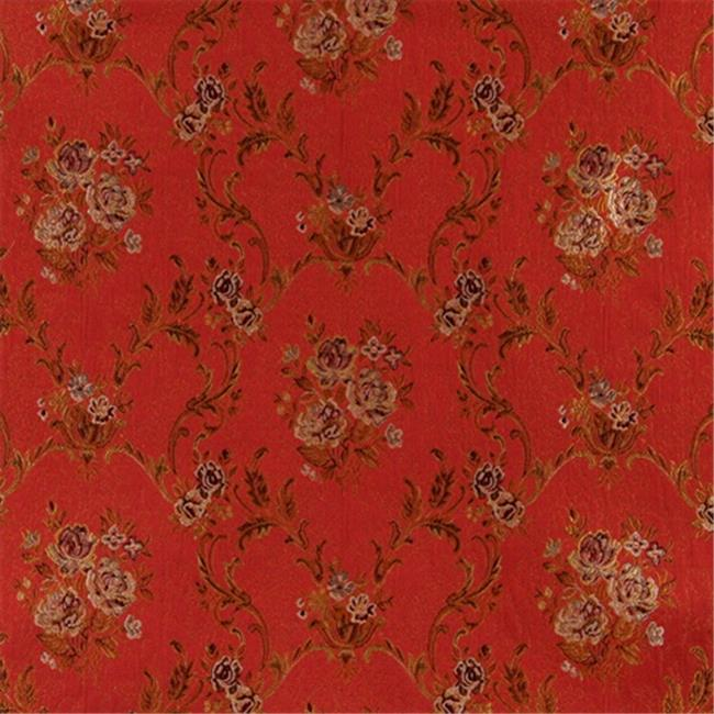 Designer Fabrics K0014G 54 in. Wide Red, Brown, Gold And Ivory Large Scale Embroidered, Floral Brocade, Upholstery And Window Treatments Fabric