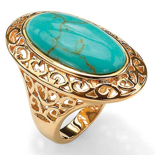 palm jewelry gold plated simulated turquoise