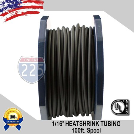 ALL SIZES 5 -100 FT Black Polyolefin 2:1 Heat Shrink Tubing Wire Sleeving UL