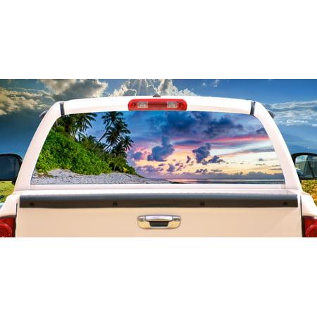 - BEACH SCENE Rear Window Graphic decal tint film back view thru vinyl