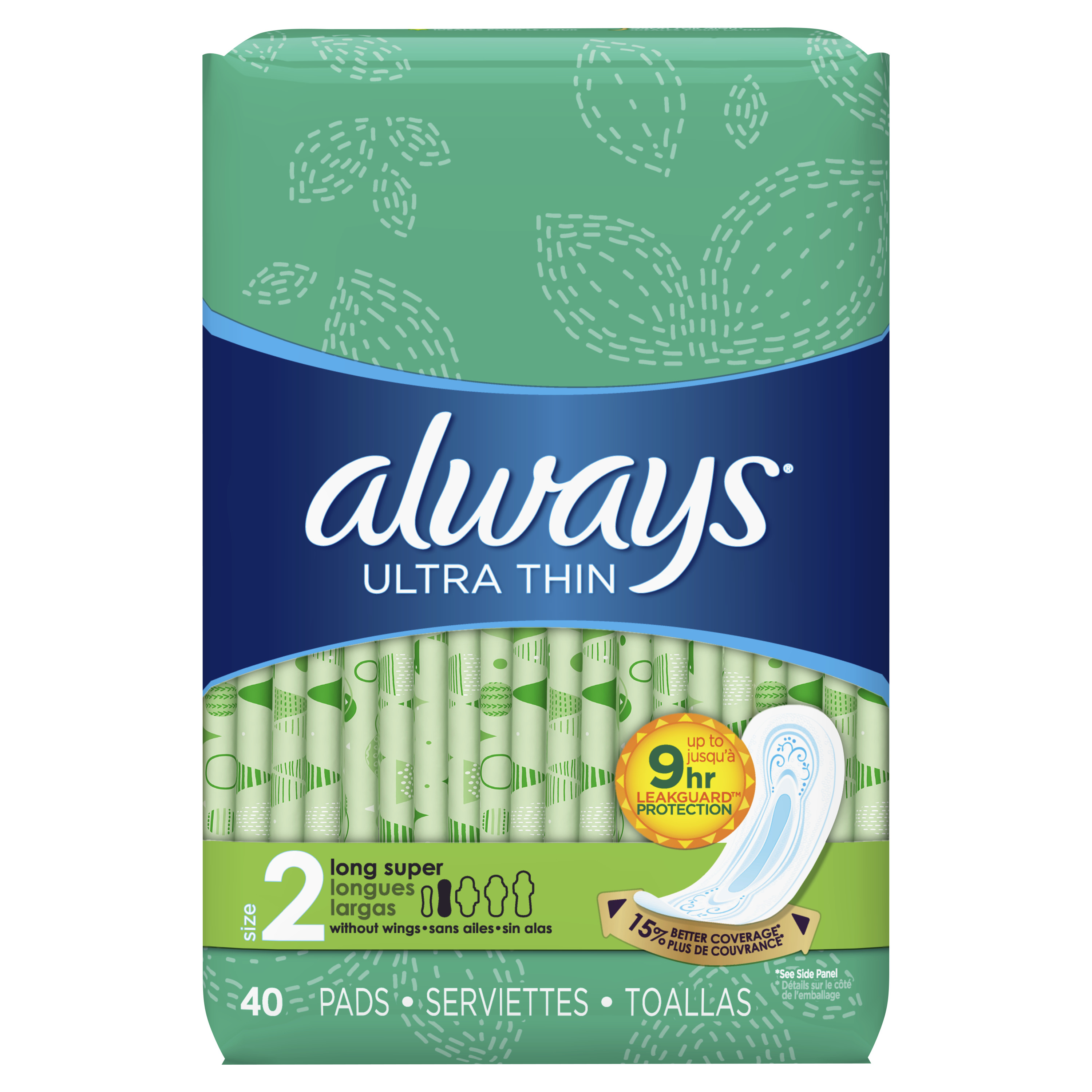 Always Ultra Thin, Size 2, Super Pads Without Wings, Unscented, 40 Count