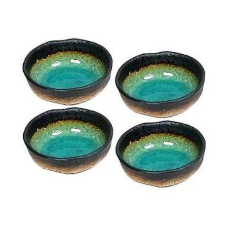 Set of Four Green Kosui Soy Sauce Dipping Bowls 3 1/4 Inch, Hand Crafted in Japan these sauce dishes measure 3 1/4 Inches W by 1 1/4 Inches High By Japan Green Magma Japan