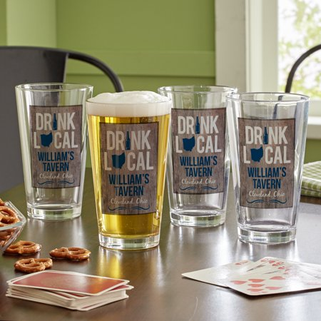 Personalized Drink Local Pub Glass-Available in Single Glass or Set of (Personalized Drinking Glass)