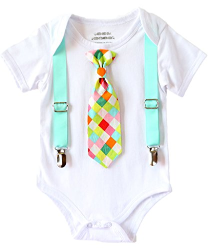 Noah's Boytique Baby Boy Clothes With Tie Neon Aqua Suspenders and Colorful Tie 0-3 Months