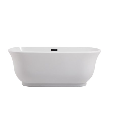 "Elegant Decor Coralie 59"" Oval Modern Soaking Acrylic Bathtub in Glossy White"