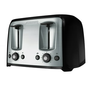 BLACK+DECKER 4-Slice Toaster with Extra-Wide Slots, Black|Silver, TR1478BD