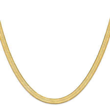 "14K Yellow Gold 6.5mm Silky Herringbone Chain Necklace, 18"""