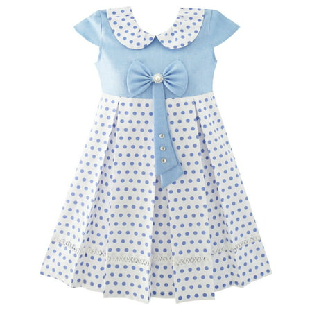Girls Dress Polka Dot School Uniform Bow Tie Pearl Cap Sleeve 4
