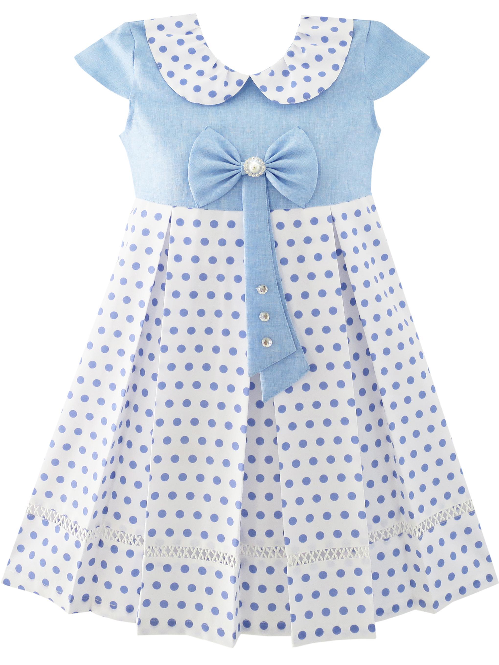 Girls Dress Polka Dot School Uniform Bow Tie Pearl Cap Sleeve 4
