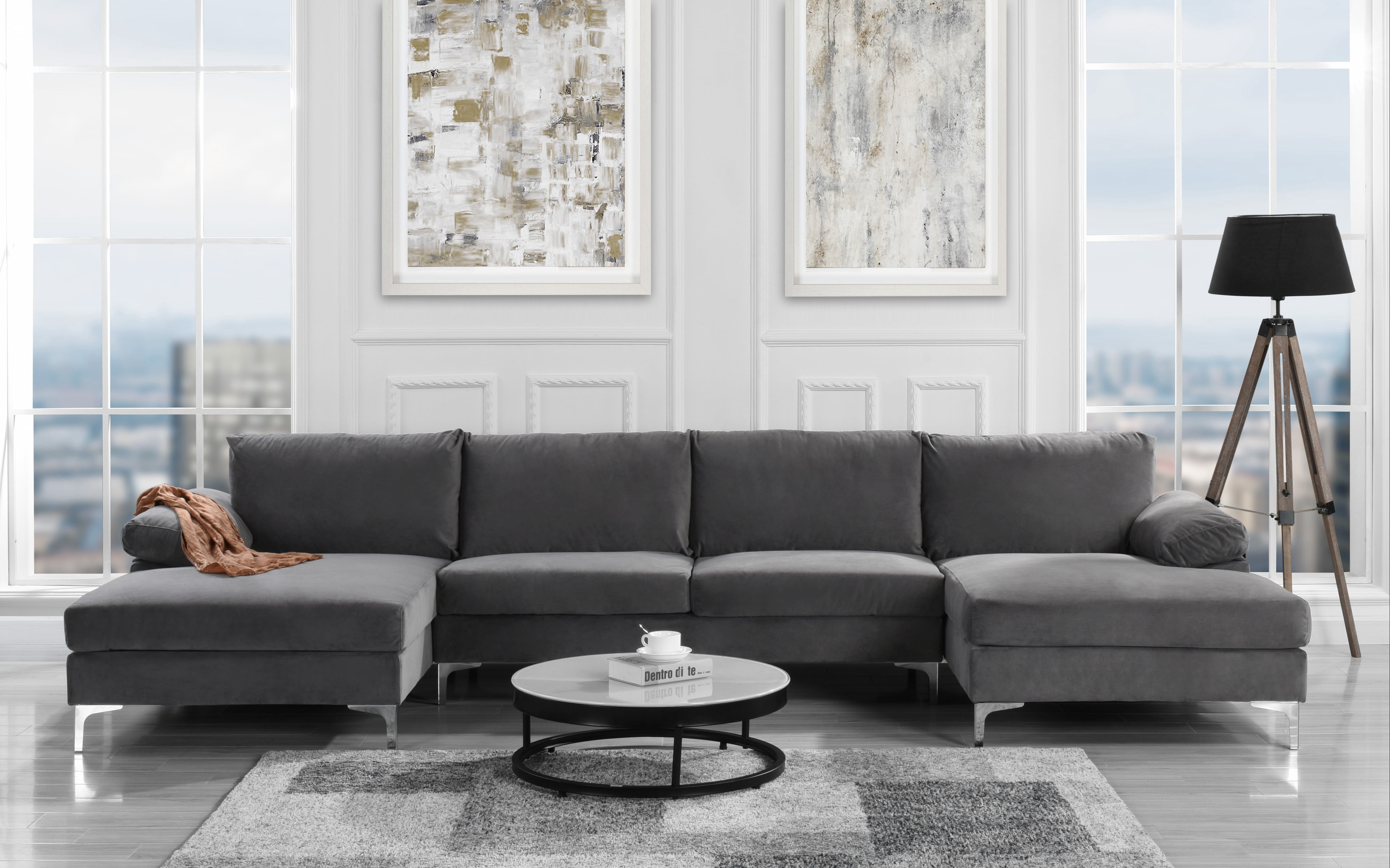 Modern Large Velvet U Shape Sectional With Double Chaise Lounge Extra Wide Grey Walmart Com Walmart Com