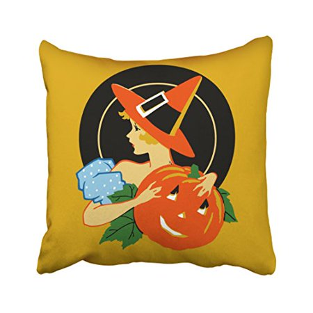 WinHome Vintage Halloween Art Deco Girl Pillow Covers Cushion Cover Case 18x18 Inches Pillowcases Two Side (Deco Halloween Maison)