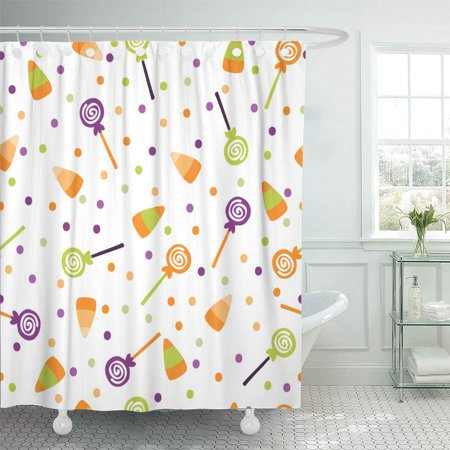 PKNMT Halloween Trick Treat Candies Bright and Sweets in The Traditional Colors Bathroom Shower Curtains 60x72 inch - Halloween Sweets And Treats Ideas