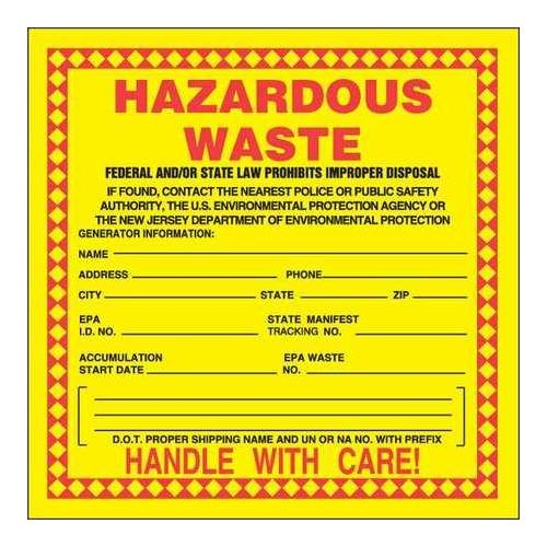 ACCUFORM SIGNS MHZWNJPSP New Jersey Hazardous Waste Label, PK 25