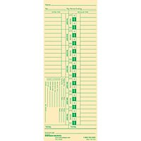 Office Depot Time Cards With Deductions, Weekly, Days 1-7, 1-Sided, 3 3/8in. x 8 7/8in., Manila, Pack Of 100, GB-735312