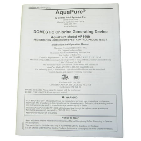 Aquapure h0325900 ap1400 installation and operation manual.