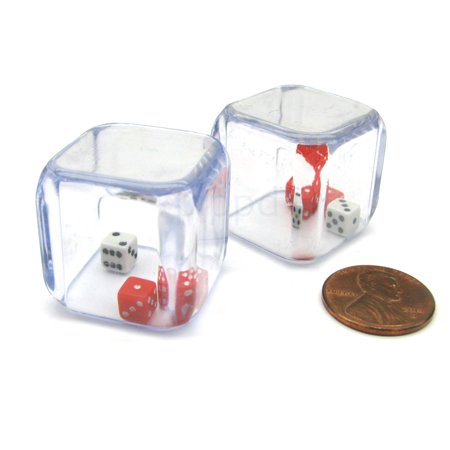 Three Man Dice (Koplow Games Pack of 2 '3 In a Cube' Dice - 2 x 5mm Red + 1 x 5mm White Dice Inside 25mm Cube)