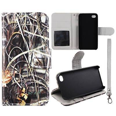 Apple Iphone 4 4S Camo Grass  Plane Leather Flip Wallet  Dual Layer Interior Design Flip PU Leather case Cover Card Cash Slots & Stand  Cover
