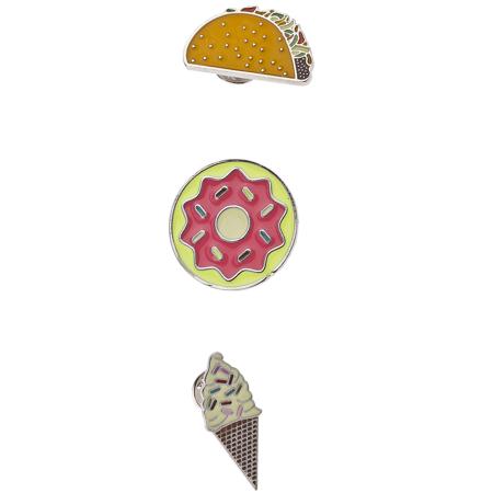 Lux Accessories Silver Tone Junk Food Taco Donut Ice Cream Cone Enamel Pin Set