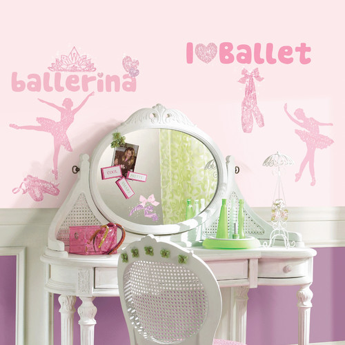 RoomMates Ballet Peel & Stick Wall Decals with Glitter