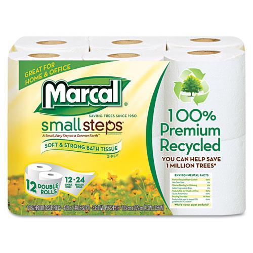Marcal Small Steps 100 Percent  Recycled Double Bathroom Tissue, 12pk