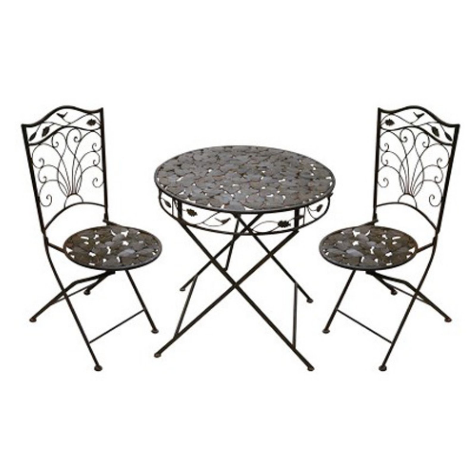 Iron Bistro Set 1 Table and 2 Chairs