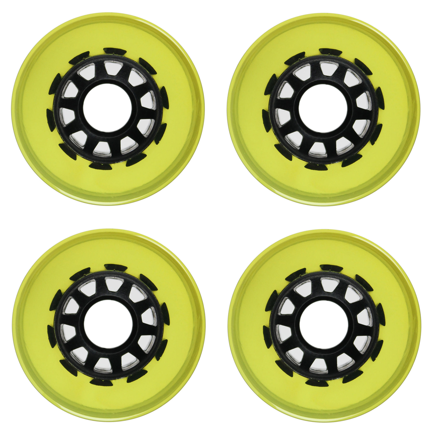 Longboard Wheels 70mm Smooth Transparent Yellow Black Spoke Hub USA Made 78A