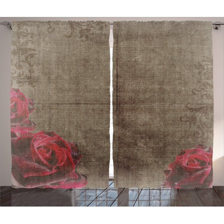 Victorian Artwork (Victorian Decor Curtains 2 Panels Set, Decorative Artwork With Roses Ornamental Frame Image Nostalgic Vintage Style, Living Room Bedroom Accessories, By Ambesonne )