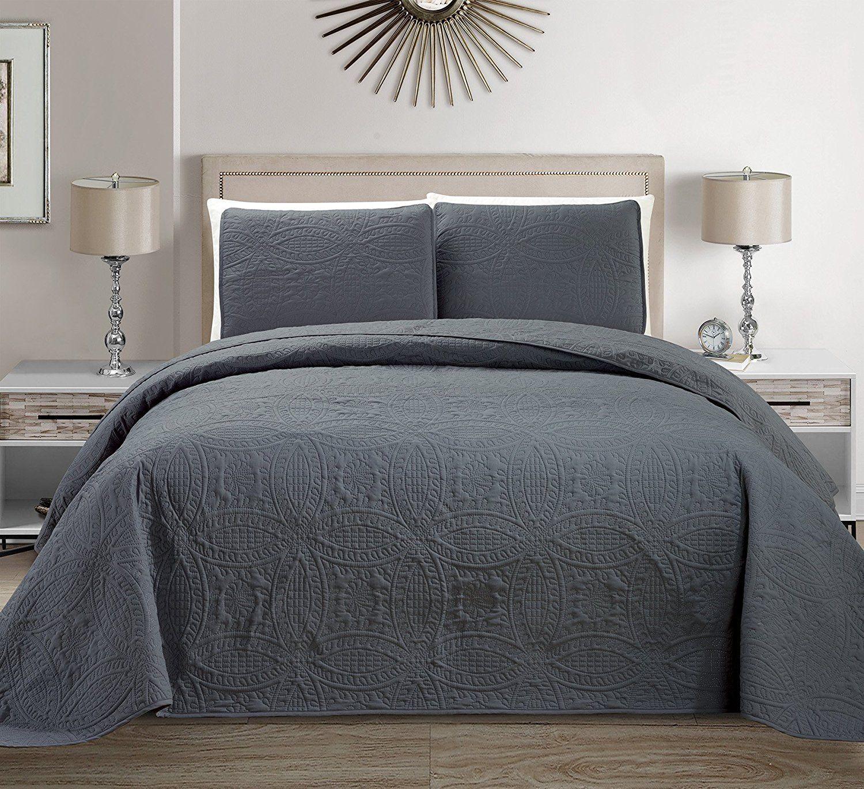Fancy Linen 3pc King/California King Embossed Oversized Coverlet Bedspread Set Solid Dark Gray/Charcoal New # Austin