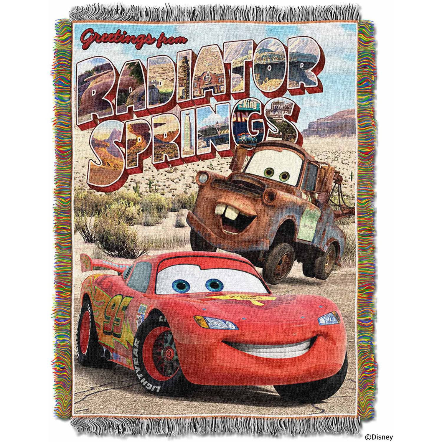 "Disney Pixar's Cars ""Greetings from Radiator Springs"" 48"" x 60"" Woven Tapestry Throw"