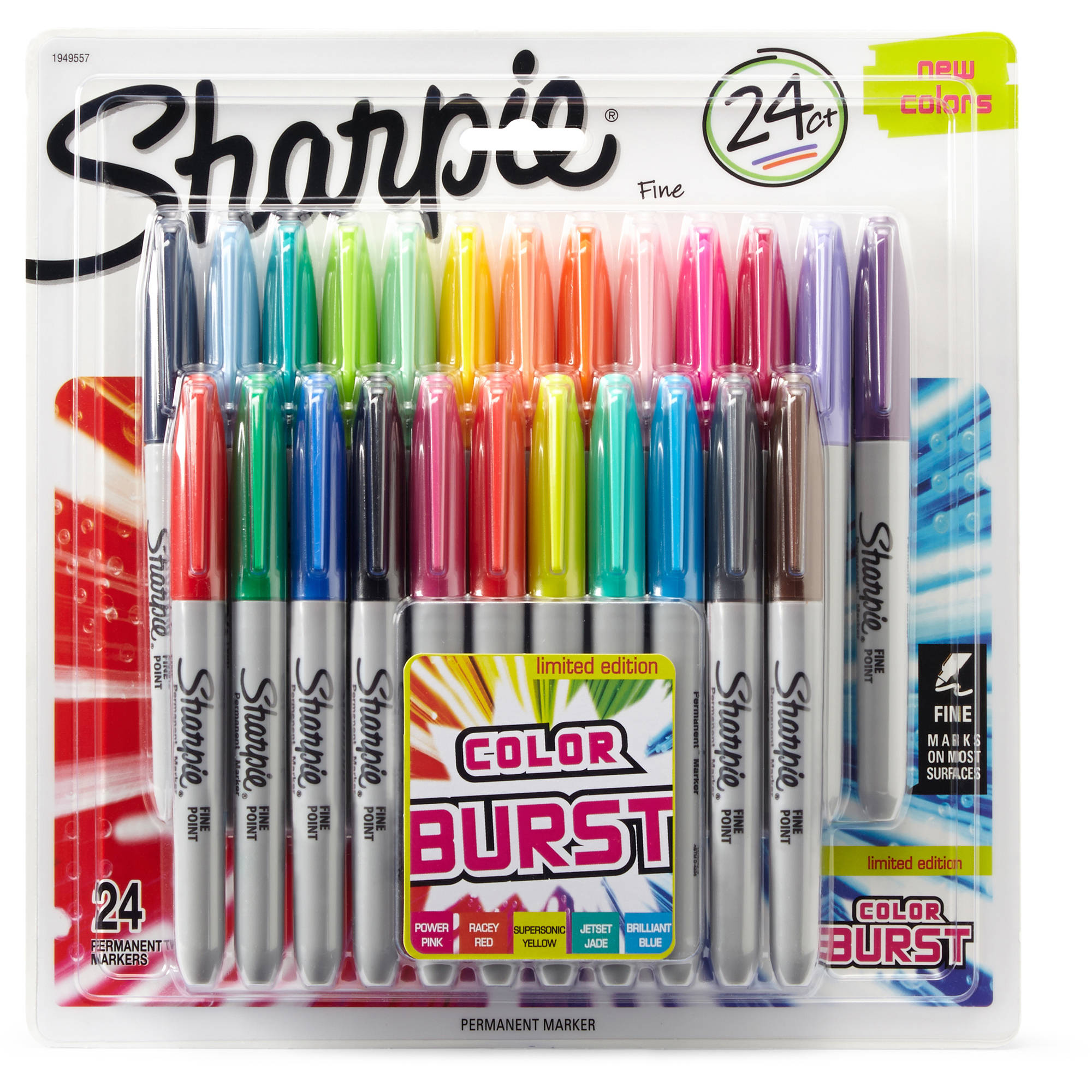 Sharpie Color Burst Permanent Markers, Fine Point, Assorted, 24pk