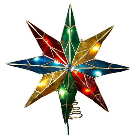 Kurt Adler 14  8 Point Star With Center Gem Treetop