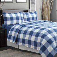 Oxford Printed Sheet Set, Navy - Queen Size